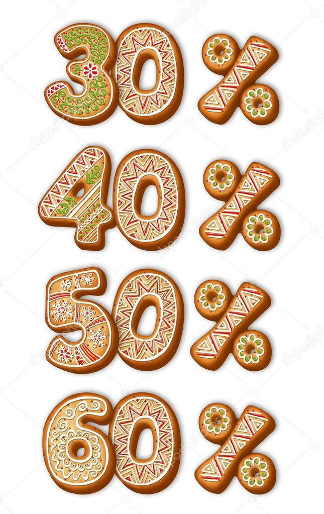 English Gingerbread Numbers Christmas Cookies Stock Photo