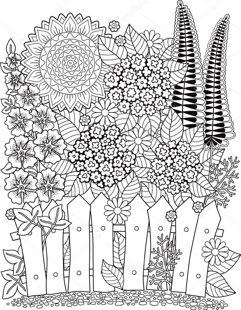 Girasoles de vector doodle. Libro para colorear para adultos. Flores ...