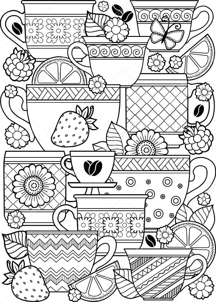 Una taza de té de hierbas para un buen día. Libro para colorear para ...