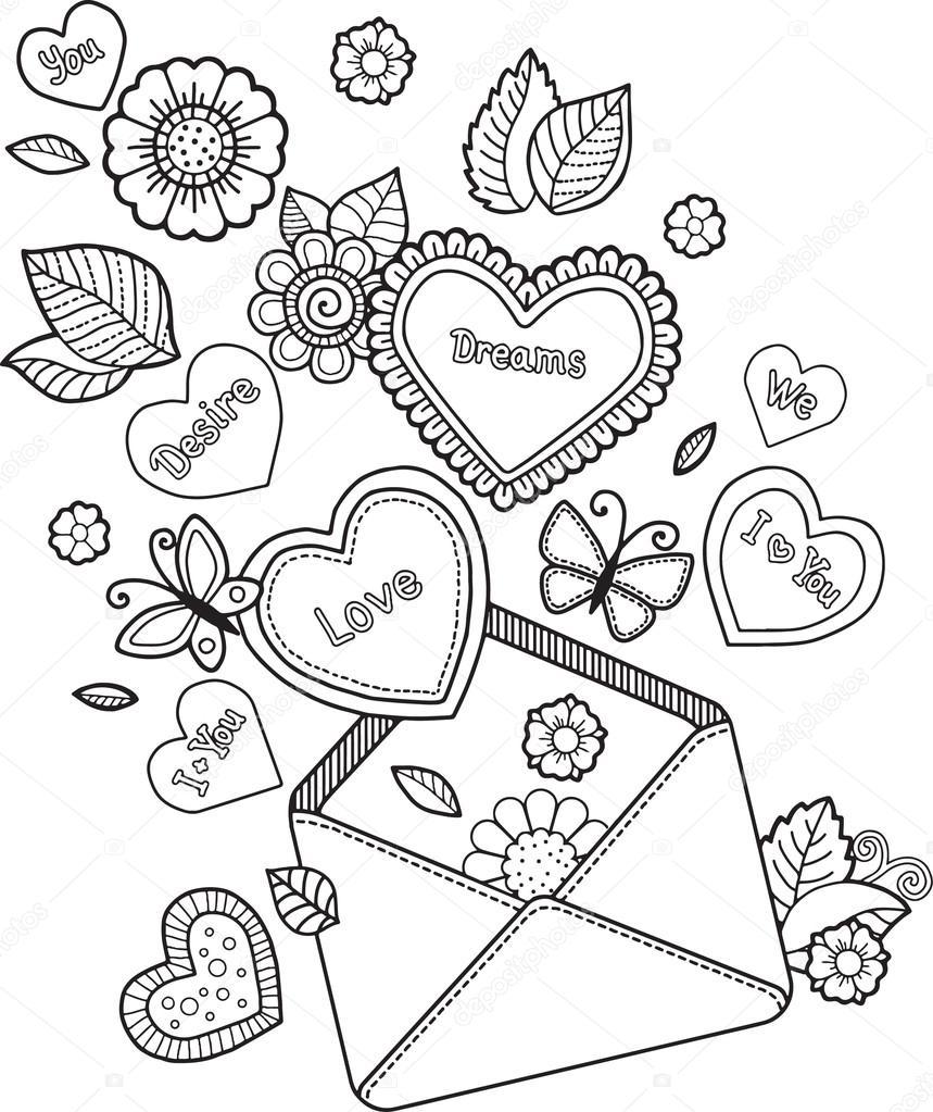 Libro para colorear para adultos. Con carta de amor. Te quiero. Día ...