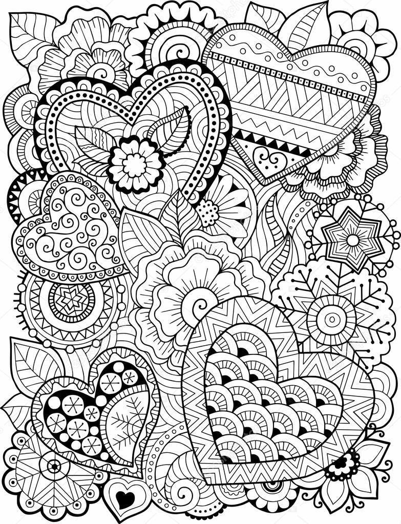 Libro para colorear para adultos corazones y flores d a Coloring book for adults gramedia