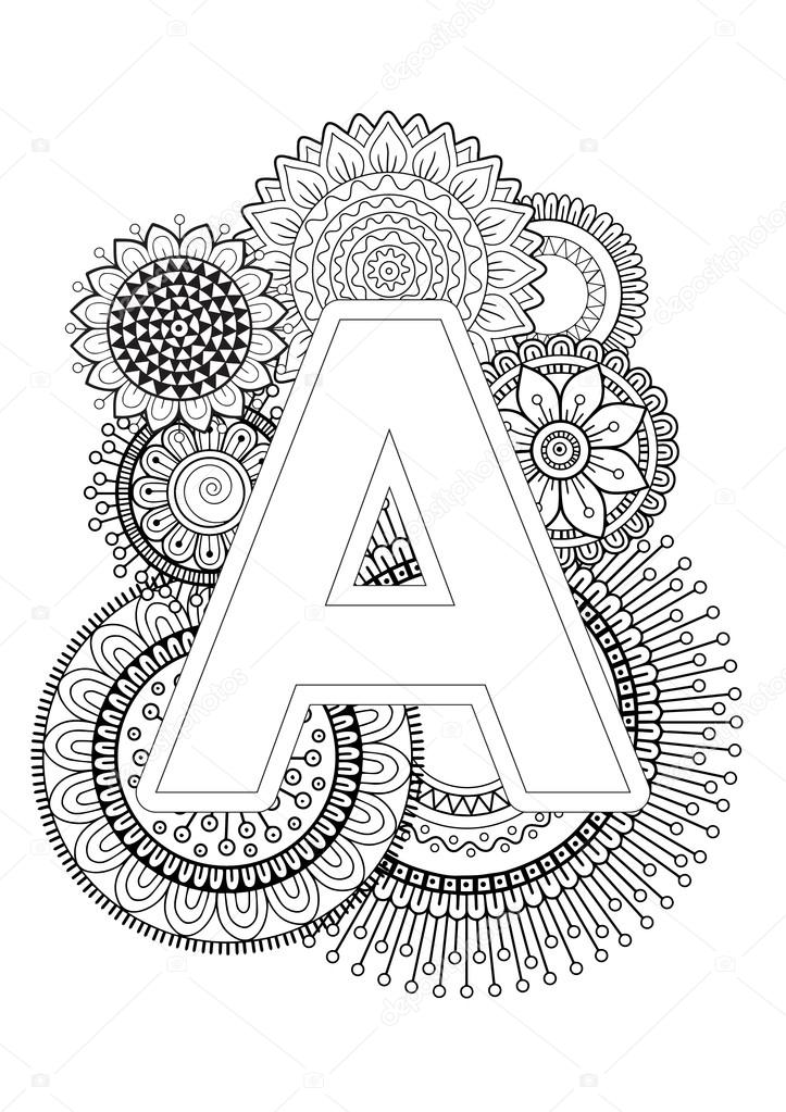 Coloring Book For Adult. Mandala and Sunflower. ABC book ...