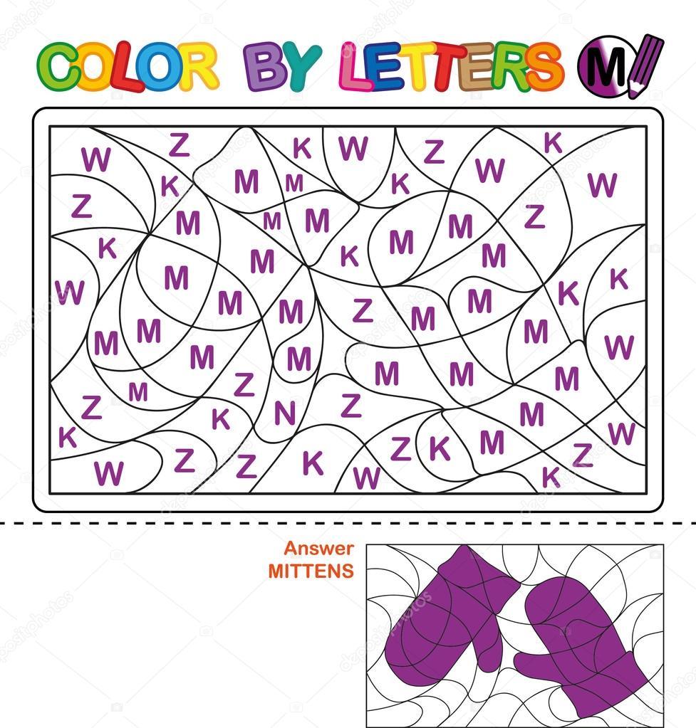 Carta de colores. Rompecabezas para niños. Mitones — Fotos de Stock ...