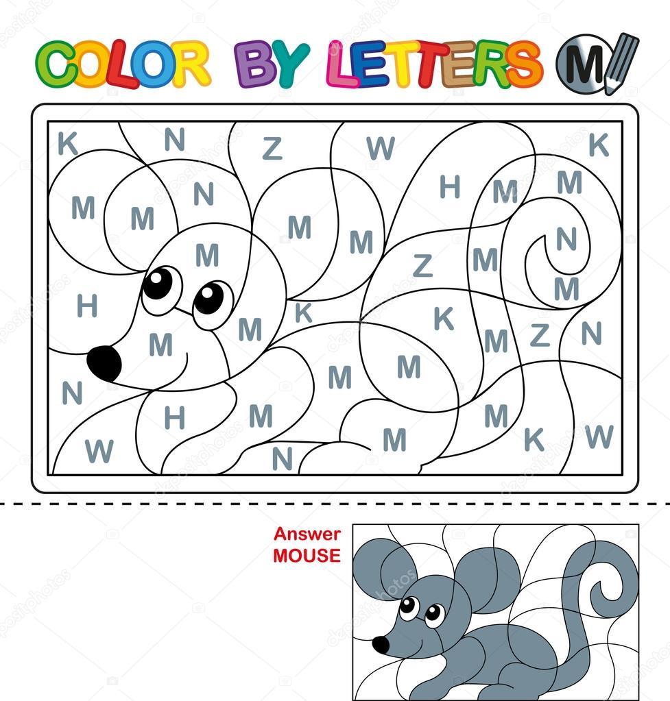 Farbe mit schreiben. Puzzle für Kinder. Maus — Stockfoto © natasha ...