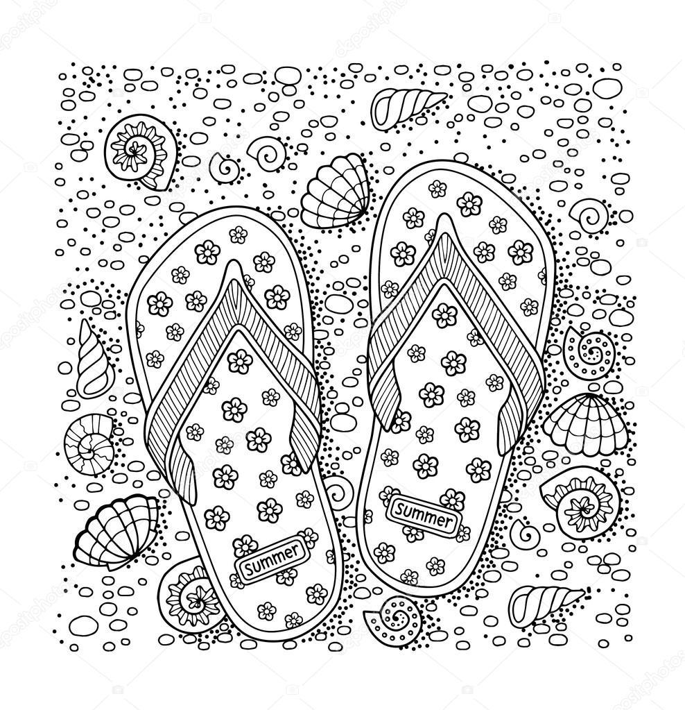 Dibujos Sandalias De Playa Para Colorear Playa Del Mar
