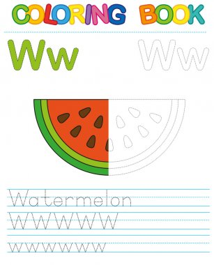 Vector coloring book alphabet.  Restore dashed line and color the picture.  Letter W. Watermelon