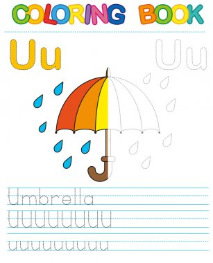 Vector coloring book alphabet.  Restore dashed line and color the picture.  Letter U. Umbrella