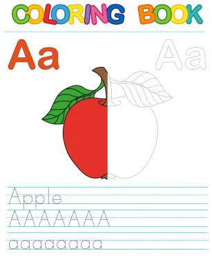 Vector coloring book alphabet.  Restore dashed line and color the picture.  Letter A. Apple