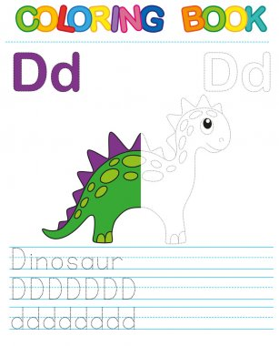 Vector coloring book alphabet.  Restore dashed line and color the picture.  Letter D. Dinosaur