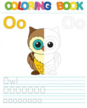 Vector coloring book alphabet.  Restore dashed line and color the picture.  Letter O. Owl