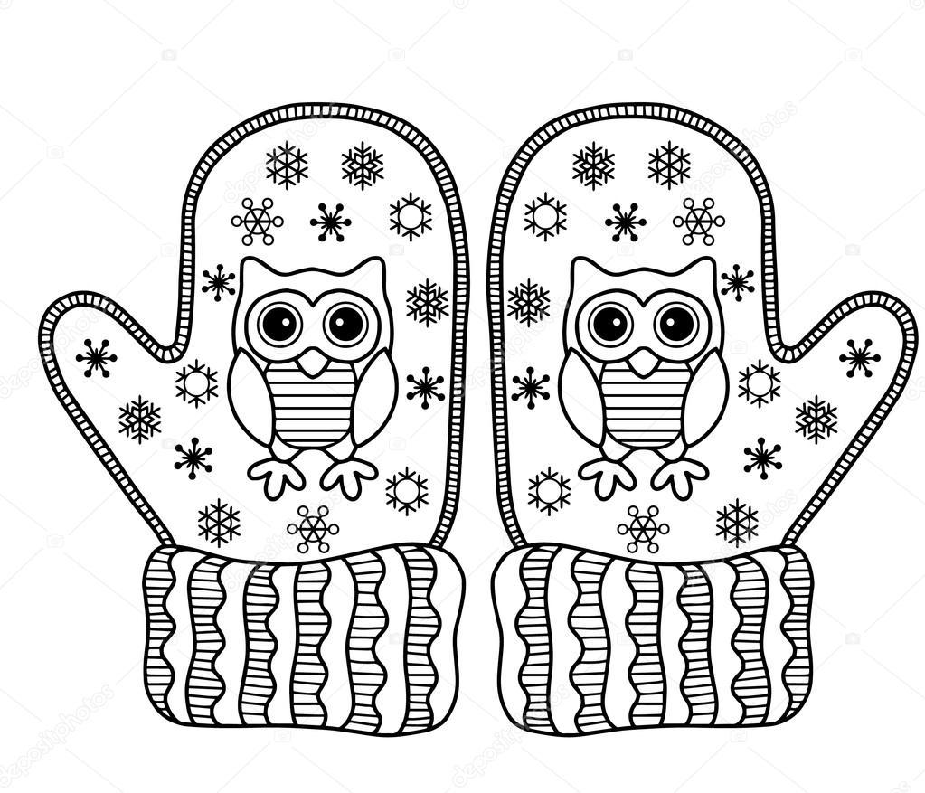 Kış Seviyorum Komik Vektör Mittens Tebrik Kartı Stok Vektör