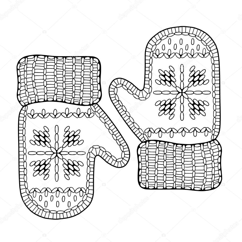 картинке рисунок рукавички с узором народных костюмов это