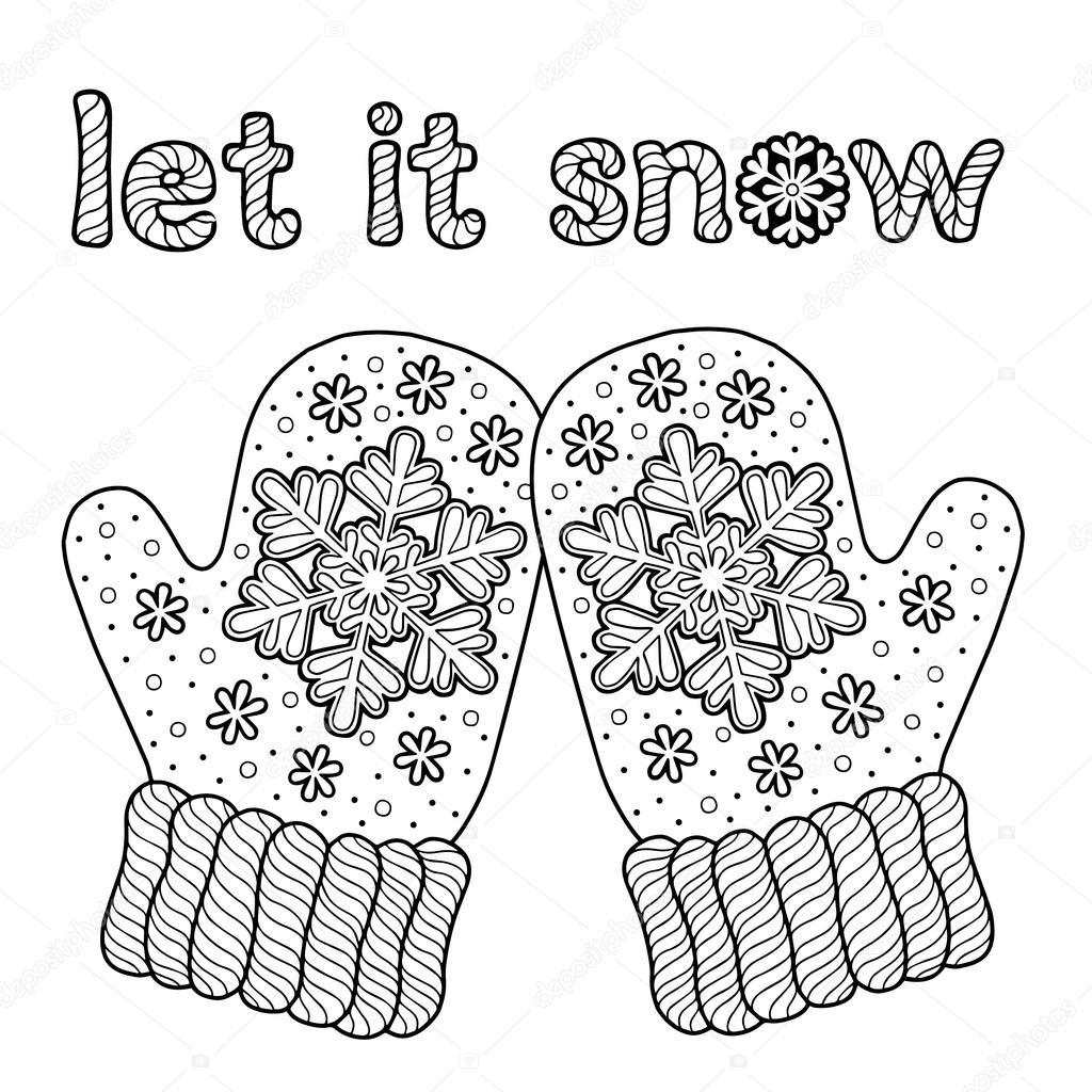 Que la nieve. Me encanta mitones de invierno Funny vectores para ...