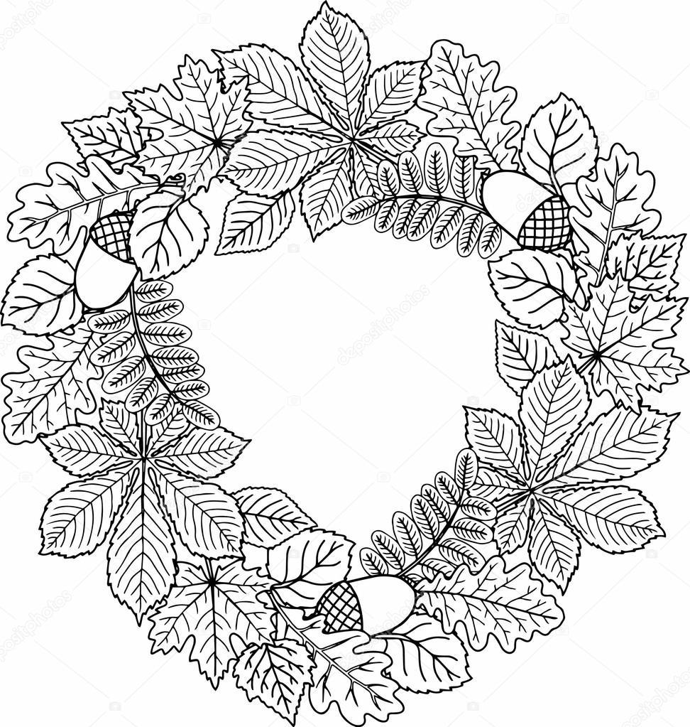 decorative wreath of autumn leaves vector coloring book. Black Bedroom Furniture Sets. Home Design Ideas