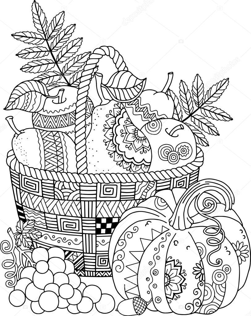 Vektor-Malbuch für Erwachsene. Thanksgiving Day. Korb mit Äpfeln ...