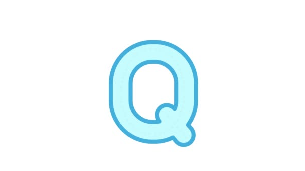 Tutorial for writing English alphabet. Trace the letter Q with a pencil isolated on white background. Animated letters sample for children sequential writing of the letter Q