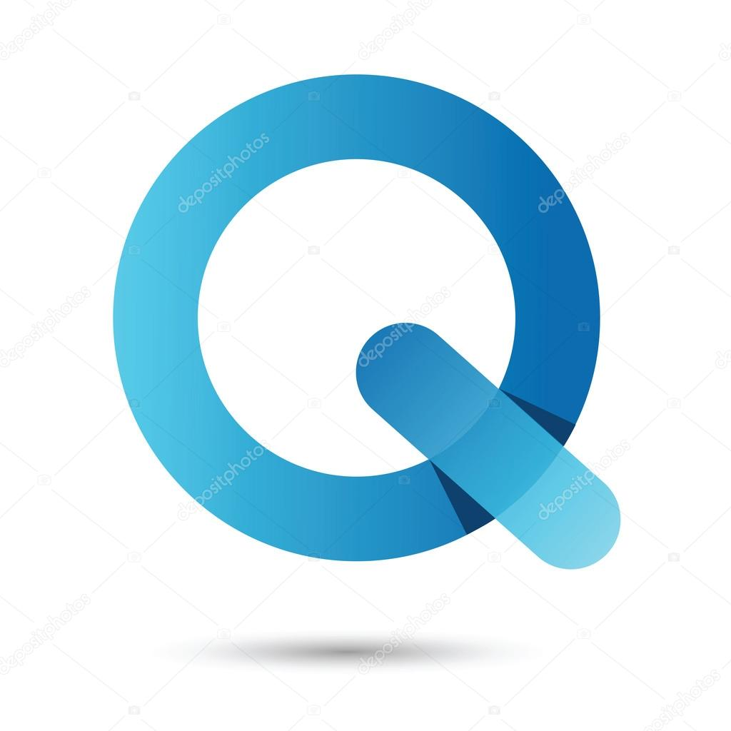 Q Font Vector With Blue Color On White Background Futuristic Fo
