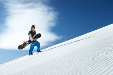 Snowboarders standing on the slope