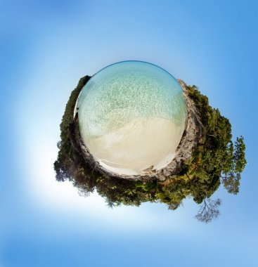 Planet panorama on white sandy beach