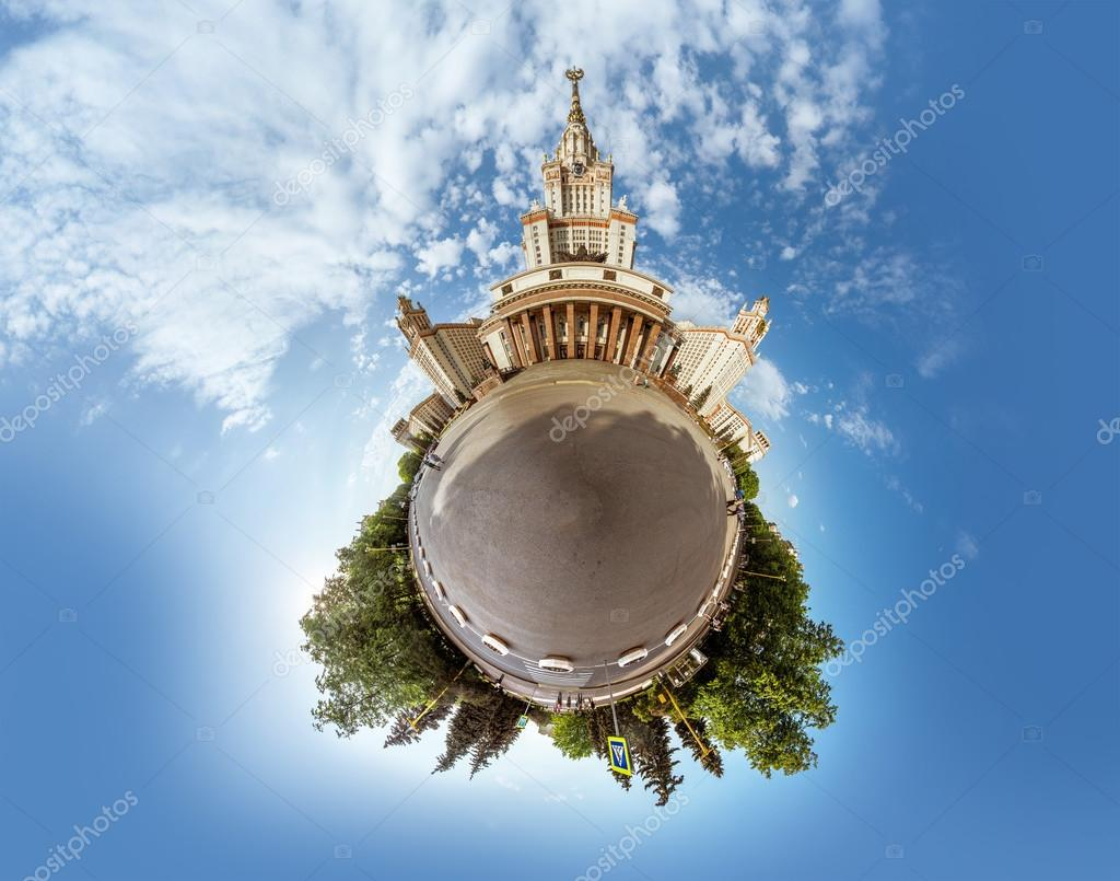Little planet panorama of Lomonosov