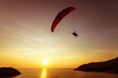 Silhouette of sky diver flies