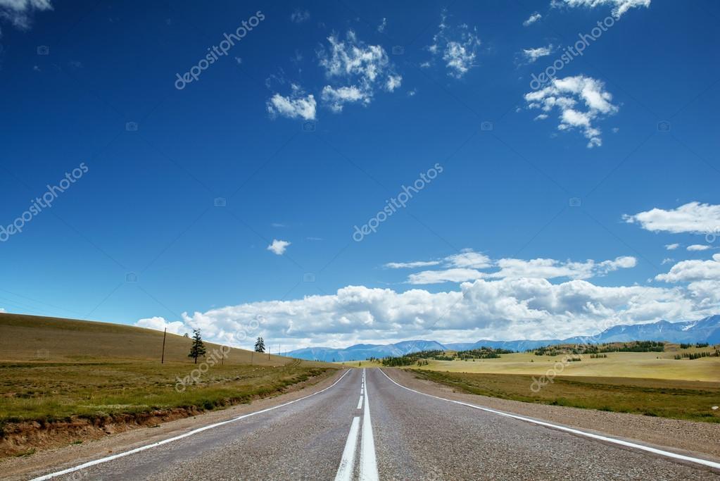Straight road goes to horizon