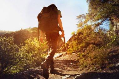 Man backpacker trekking