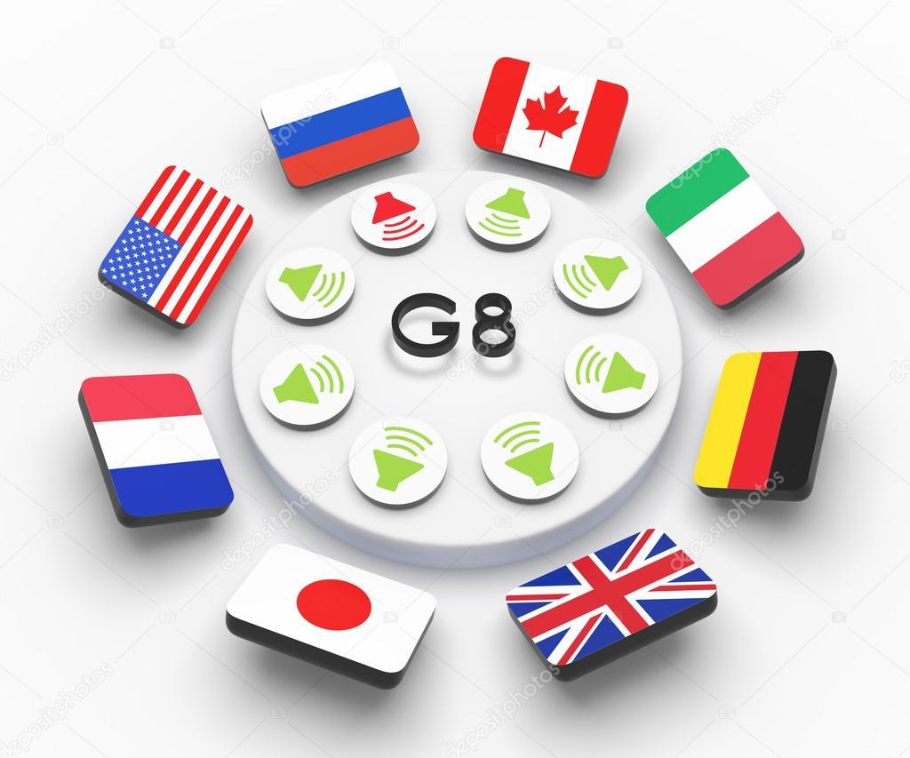 Flaggen Gruppe der acht g8 Gruppe der sieben g7 an einem