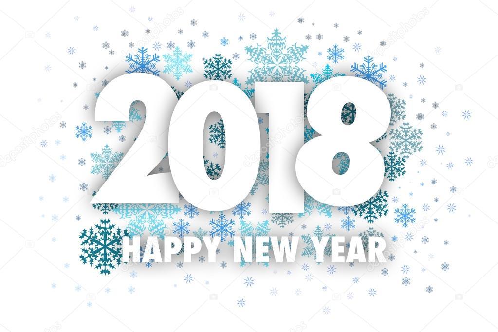 Feliz Ano Novo 2018 Com Floco De Neve