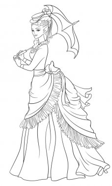 Victorian style dressed lady with umbrella. Line art coloring page vector illustration.