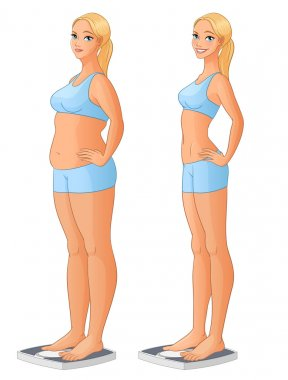 Woman on scale before and after weight loss. Vector illustration.