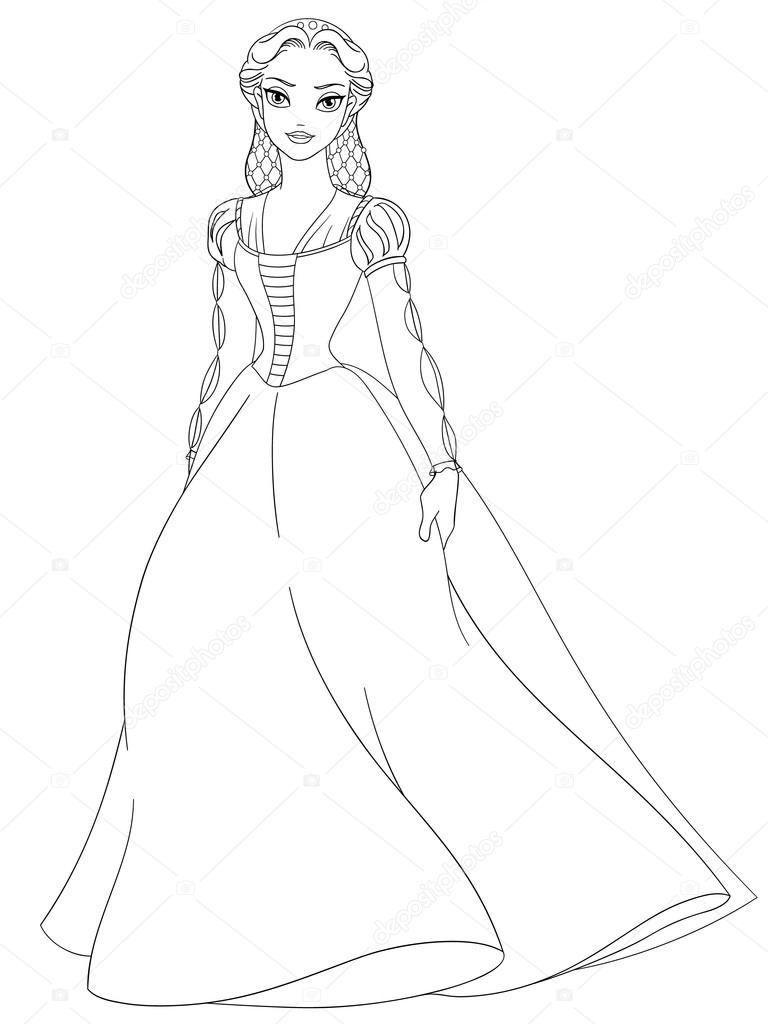Outlined Medieval Lady In Long Dress Coloring Page Vector Illustration Stock