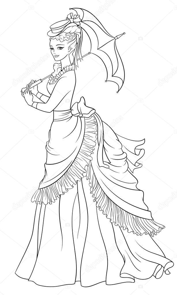 Victoria Tarzı Giyimli Bayan şemsiye Ile Satır Resmi Sayfa Vektör