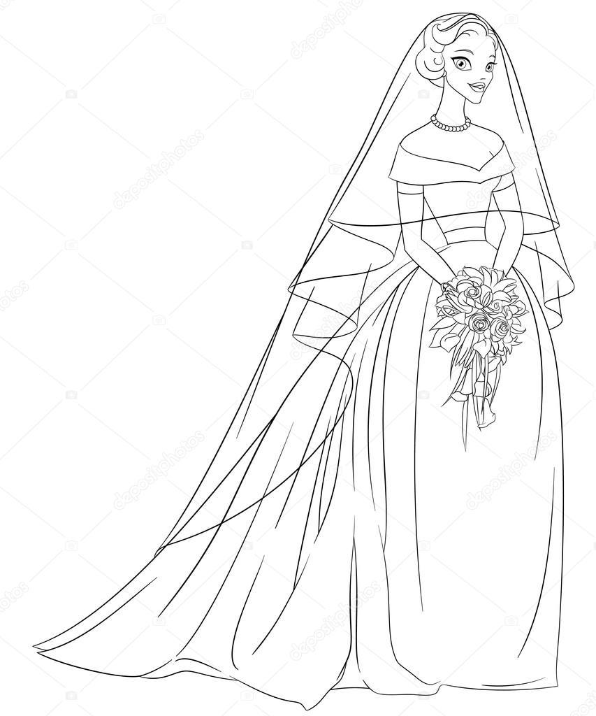overzicht bruid met sluier en boeket zeer fijne