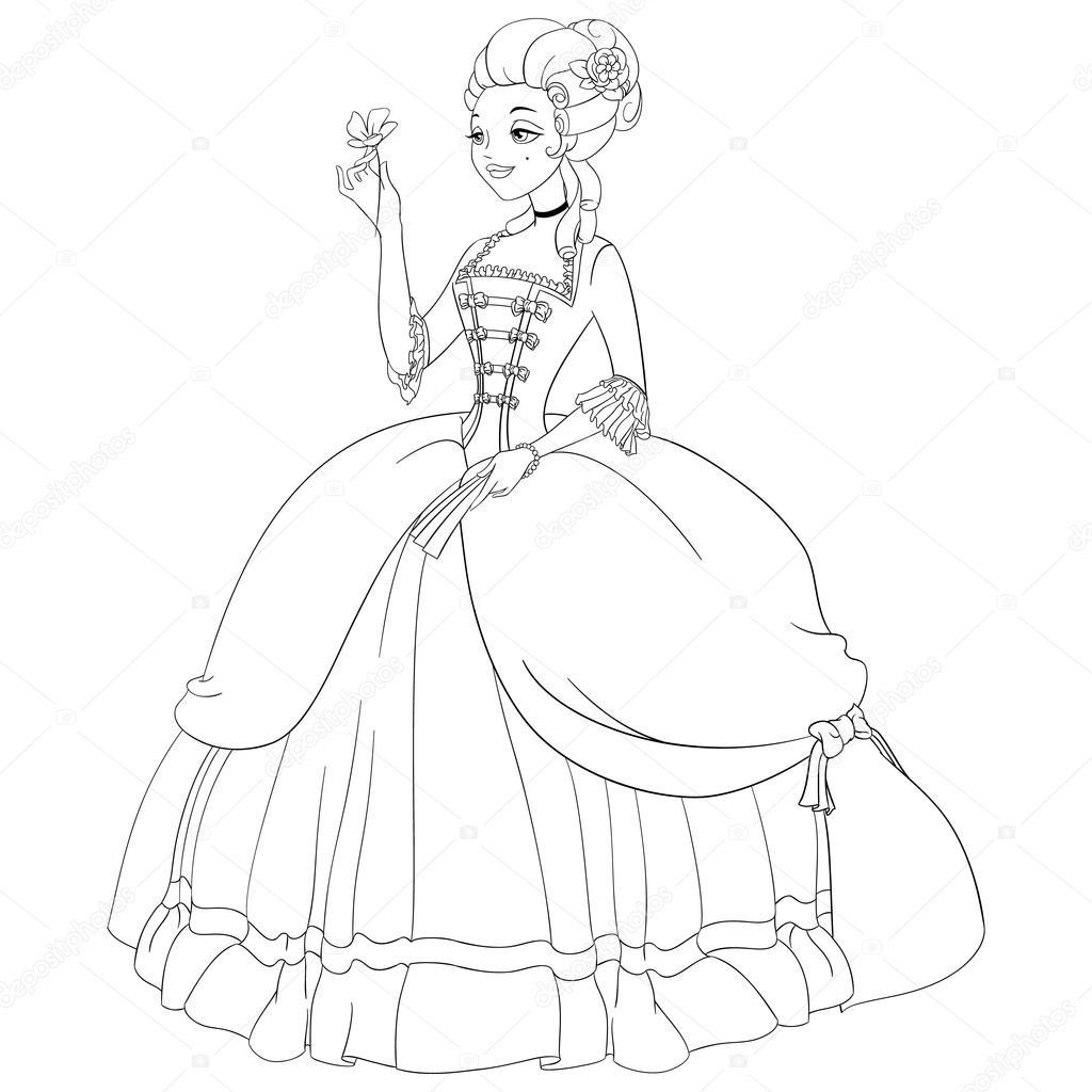 Delineato Il Rococo Signora In Abito D Epoca Da Colorare Pagina