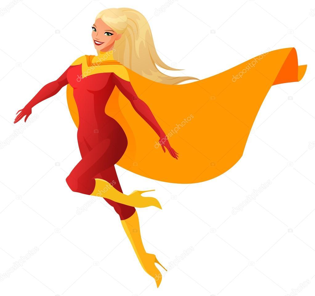 Mulher de super-herói na roupa vermelha voando. Ilustração ...