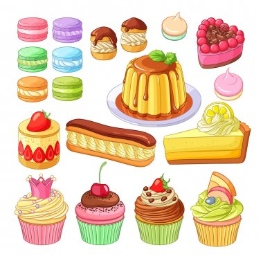 Vector set of colorful desserts macarons, profiteroles, pie, strawberry fraisier, eclair, lemon cake, flan, meringues and cupcakes.