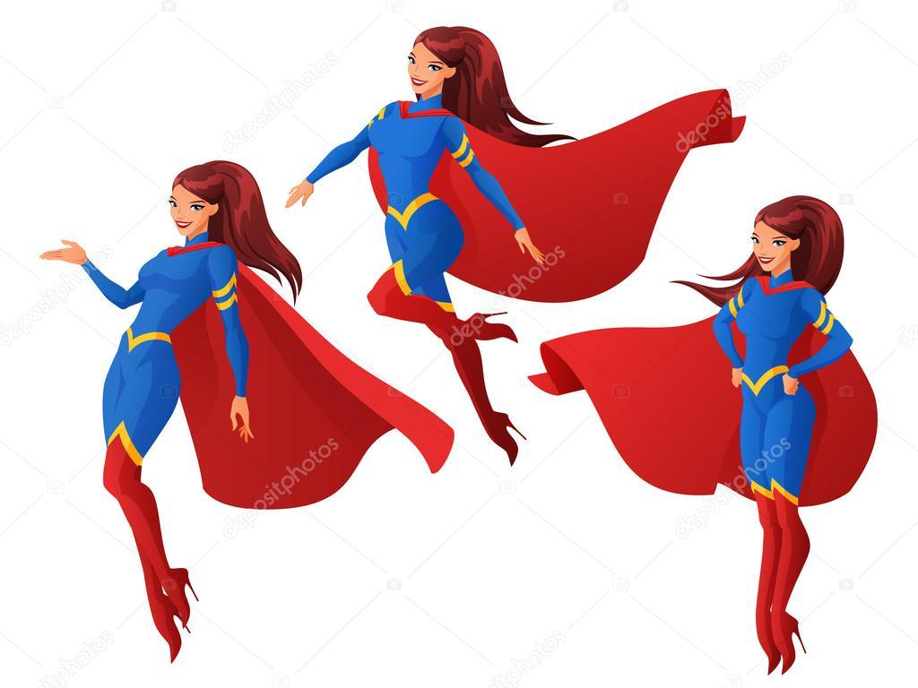 jeu de femmes en costume de super h ros bleu et rouge dans des poses diff rentes trois. Black Bedroom Furniture Sets. Home Design Ideas