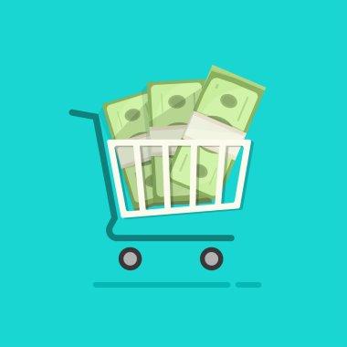 Shopping cart full pile of paper money vector cartoon illustration