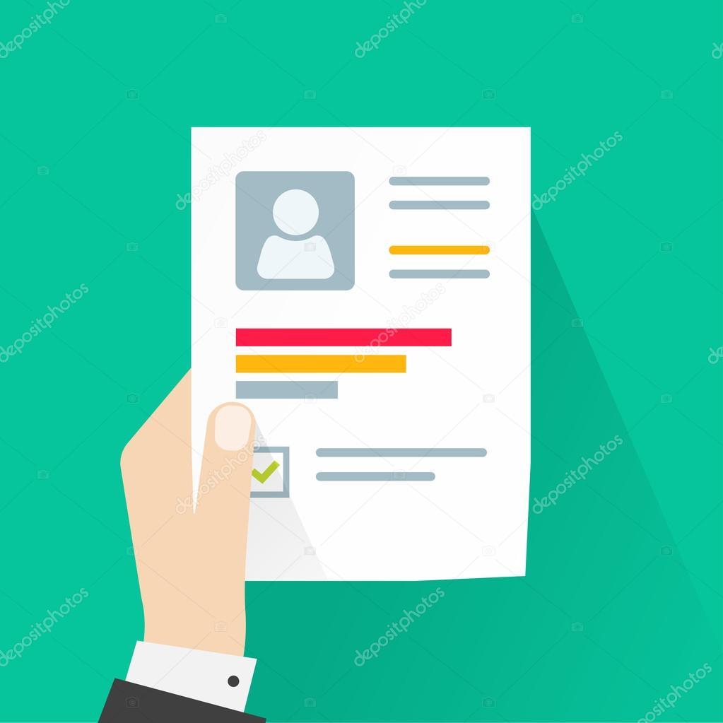 Hoja de papel de CV aplicación, explotación de la mano de negocios ...