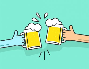 Two abstract hands holding beer glasses with foam clinking
