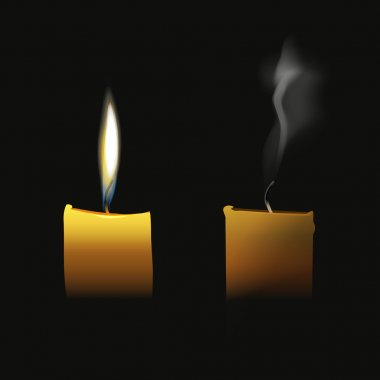 Realistic candle flaming and extinct wick with transparent smoke