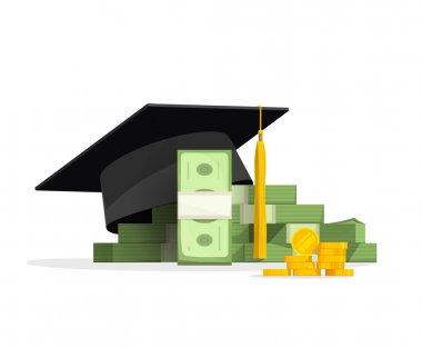 Graduation cap on pile of money, education costs concept