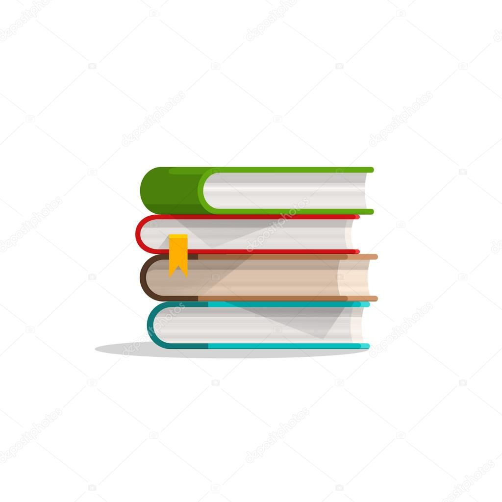 Pilha de livros empilhados e o indicador, pilha de livros didático com sombra, símbolo — Vetores de Stock