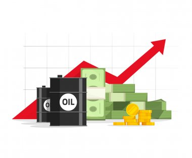 Oil barrel, money pile, red rising graph and upward arrow