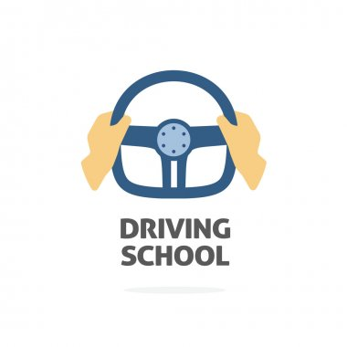 Driving school logo vector, hands holding sport steering wheel icon