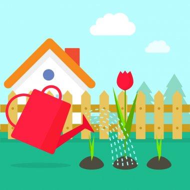Garden vector illustration, cartoon village with house