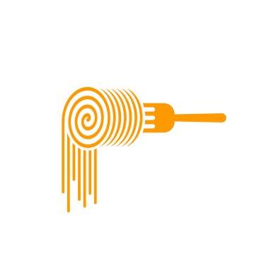 Pasta fork vector logo, roll symbol concept of noodles