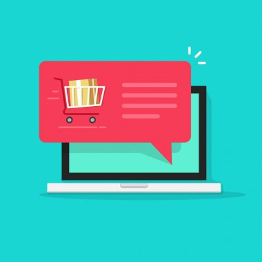 Laptop with shopping cart full, red speech bubble vector illustration