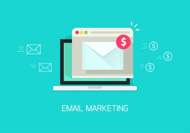 Email marketing vector illustration concept, laptop computer email conversion